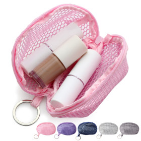 Kalevel Makeup Sponge Case Mesh Beauty Sponge Bag Mini Cosmetic Pouch Zippered Toiletry Bag with Keychain for Women Travel (Pink)