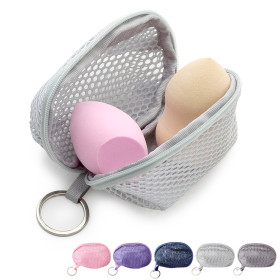 Kalevel Beauty Sponge Travel Case Mini Mesh Cosmetic Pouch Zippered Makeup Sponge Bag with Keychain for Women Girls (Light Gray)