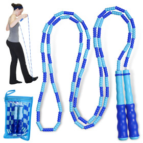 Kalevel Jump Rope Soft Beaded Segment Jump Rope Adjustable Tangle-Free Skipping Rope for Men Women and Kids Keeping Fit Blue
