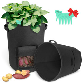 Kalevel Potato Grow Bags Planter Garden Growing Bags10 Gallon 2 Pack with 10pcs Plant Labels for Tomatoes Carrots (Black)