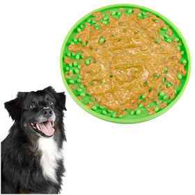 Kalevel Licking Pad Dog Peanut Butter Pet Distraction Lick Mat Silicone Slow Feeder Mat Pad with Suction for Dog Washing Training (Green)