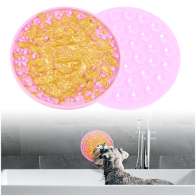 Kalevel Dog Shower Lick Mat Pad Bath Slow Treat Dispensing Mat Pet Peanut Butter Licking Pad Cat Distraction with Suction Cups (Pink)