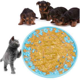 Kalevel Lick Mat Bath Distraction for Dogs Cats Pets Suction Peanut Butter Licking Pad Slow Eating Feeding Mat Shower Grooming (Blue)