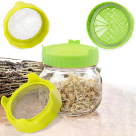 Kalevel 4 Pack Sprouting Lids Plastic Sprout Jar Lids Germination Lid Topper with Stainless Steel Grow Bean Sprouts Green