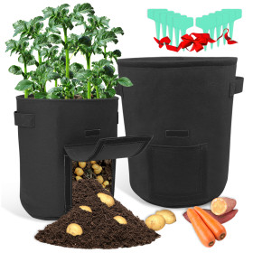 Kalevel Garden Potato Grow Bags 10 Gallon 7 Gallon Planting Pot 2 Pack and 10pcs Planting Labels for Tomatoes Carrots (Black)