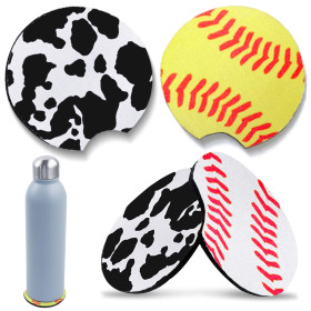 Kalevel 4pcs Neoprene Car Coasters Drink Coasters Absorbent Car Cup Holder Pads Anti Slip Cup Mat for Car Home Bar Office Desk (B Set)