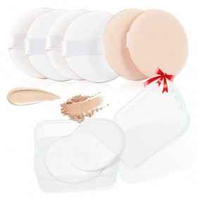 Kalevel Powder Puff for Face Powder Compact Puff Sponge Air Cushion Powder Puff BB Cream Foundation Sponge Latex Free Round Cosmetic Makeup Powder Puff with Portable Case for Travel & Home (8 Pack)