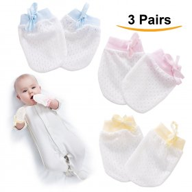Kalevel 3 Pairs Newborn Baby Mittens No Scratch Baby Cotton Gloves 0-6 Months