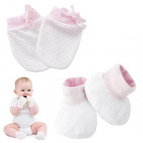 Kalevel Baby Mittens Newborn Socks Cotton No Scratch Gloves for Baby Boy Girl