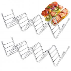 Kalevel Taco Holders Stainless Steel Taco Shell Stand for 3 or 4 Tacos Rack Tortilla Holder Oven Dishwasher and Grill Safe