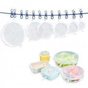 Kalevel 6pcs Silicone Stretch Lids Reusable Food Container Fruit Covers Seal Lid Kitchen Bowl Can Covers Durable and Expandable to Fit Various Sizes and Shapes of Containers