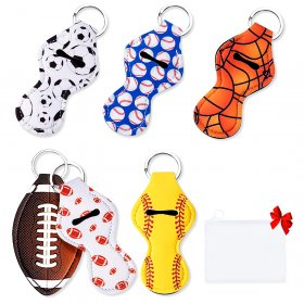 Kalevel 6pcs Lip Balm Lipstick Keychain Holder Chapstick Holder Key Chain Neoprene Lip Gloss Keychain Holder with a Free Pouch, Sport Style