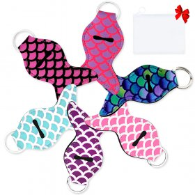 Kalevel 6pcs Keychain Lip Balm Holder with Free Transparent Pouch Set Neoprene Chapstick Holder Keychain Mermaid Tail Keyring Lipstick Holder