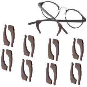 Kalevel 8 Pairs Eyeglasses Ear Hooks Grips Silicone Temple Tips Sport Anti Slip Holder for Glasses Kids Men Women (Brown)