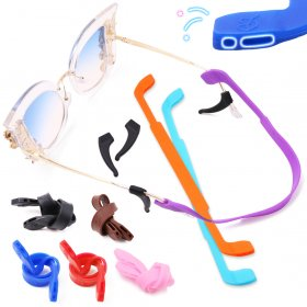 Kalevel 8pcs Silicone Eyeglass Strap Kids Sports Eyewear Retainer Double Holes Anti Slip Glasses Holder Elastic Sunglass Cord String Straps with 2 Pairs Bonus Ear Hook Grips