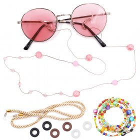 Kalevel 3pcs Eyeglass Chain Colorful Beaded Eyeglass Strap Crystal Sunglass Chain Rope Eyewear Retainer Set with Bonus Temple Tips for Women Girls
