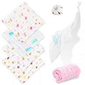 Kalevel 6 Pack Baby Muslin Washcloths Natural Soft Cotton Newborn Bath Wash Towel Face Wipe Baby Burp Cloths Bibs for Babies Adults Sensitive Skin 12 x 12 Inches