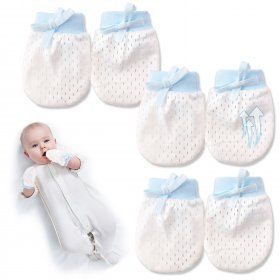 Kalevel 3 Pairs Newborn Baby Mittens Boy Girl No Scratch Gloves Adjustable Baby Mittens Breathable with Drawstring 0-6 Months for Infant Summer (Blue)