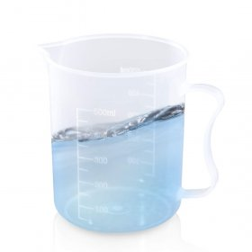 Kalevel Measuring Cups Plastic Graduated Beaker Pitcher 500ml Measuring Cup Lab Kitchen Measuring Beaker Clear Pitcher With Spout and Handle (500ml)