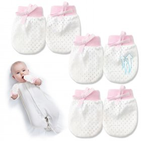 Kalevel 3 Pairs Baby Mittens No Scratch Breathable Newborn Gloves Adjustable Drawstring Baby Mittens 0-6 Months Infant Boy Girl Gloves for Summer (Pink)
