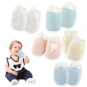 Kalevel 5 Pairs Newborn Baby Mittens 6-12 Months Boy Girl No Scratch Newborn Cotton Gloves Breathable Adjustable Baby Mittens with Drawstring for Infant Multicolor