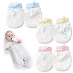Kalevel 3 Pairs Baby Gloves Newborn 0-6 Months No Scratch Mittens Breathable Adjustable Baby Mittens with Drawstring for Unisex Infant Summer Mixed Color