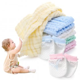 Kalevel 5pcs Baby Muslin Washcloths and 2 Pairs Baby Mittens Newborn Gloves No Scratch 0-6 Months Natural 6 Layer Muslin Cotton Washcloths Burp Cloth Face Towel 10x10 for Baby Adults Multicolors