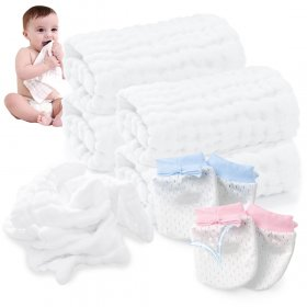 Kalevel 5pcs Baby Muslin Washcloths and Mittens Set Soft Natural Muslin Cotton Burp Cloths Baby Bath Towel Adult 12 x 12 Multicolor 5 Pack Newborn No Scratch Gloves for 0-6 Months