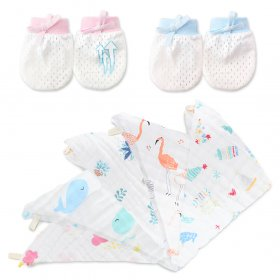 Kalevel 5pcs Muslin Washcloths Face Baby Adults and 2 Pairs Baby Mittens Muslin Cotton Baby Washcloths 12x12 Bath Towels Burp Cloths Face Wipes No Scratch Mittens Gloves for 0-6 Months