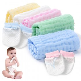 Kalevel 5pcs Baby Muslin Washcloths with Newborn Baby Mittens No Scratch Set 0-6 Months Natural 6 Layer Soft Muslin Cotton Bath Towels Burp Cloth Adults Multicolors 12in x 12in