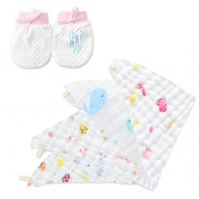 Kalevel 4pcs Muslin Washcloth Face Towel Baby Adult with Newborn Baby Mittens No Scratch 0-6 Months Soft Natural 6 Layer Muslin Cotton Burp Cloth Bath Towel Bibs Cute Patterns 12 x 12