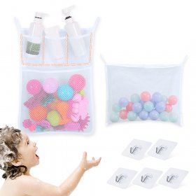 Kalevel 2 Pack Bath Toy Organizer Mesh Bag Large Bathroom Baby Kids Shower Toy Storage Holder Quick Dry Bathtub Storage Mesh Net Caddy with 5pcs Adhesive Hooks (White)
