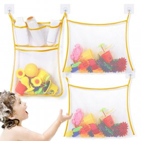 Kalevel 3pcs Bath Toy Organizer Storage Mesh Quick Dry Bath Mesh Net Baby Shower Toy Holder Caddy Practical Bathroom Net Bag Designed for Keeping Neat (Yellow)