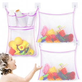 Kalevel 3 Pack Mesh Bath Toy Organizer Storage Baby Kids Shower Bathtub Toy Holder Net Bathroom Mesh Bag Caddy with Transparent Adhesive Hooks Set (Purple)