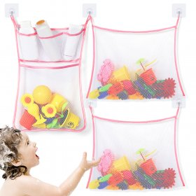 Kalevel Bath Organizer Kids for Shower Toys Set of 3 Bathtub Toy Holder Caddy Mesh Net Bath Storage Caddy Bag Baby Sturdy Quick Dry Mesh Net Quick Drying with Hooks (Pink)