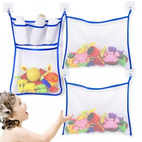 Kalevel 3pcs Bath Toy Organizer Holders for the Tub Bathroom Toy Storage Hanging Bag Bathtub Organizer Mesh Net Baby Quick Dry with 6pcs Waterproof Adhesive Hooks (Blue)