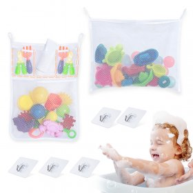 Kalevel 2pcs Bath Toy Organizer Holder Mesh Quick Dry Bathroom Shower Toy Storage Mesh Net Caddy Bathtub Storage Kids Bag with 5pcs Waterproof Adhesives Hooks (White)
