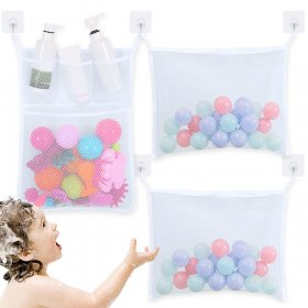 Kalevel 3pcs Bath Toy Organizer Bag with Hooks Bathroom Shower Toy Storage Holder Net Mesh Bath Organizer Bag Caddy for Soap, Shampoo, Toothpaste, Facial Cleanser (White)