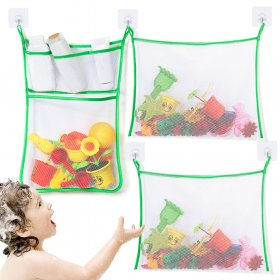 Kalevel 3 Pack Bathroom Toy Storage Net Bath Shower Toy Organizer Holder Hanging Caddy Bathtub Mesh Organizer Net Used in Bedroom Cars Boats for Organizing Stuff (Green)