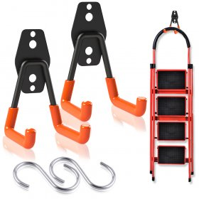 Kalevel 2 Pack Garage Hooks and Hangers Heavy Duty Utility Hooks Tool Hanger Organizer Garage Wall Mount with 2pcs S Shaped Hooks for Hanging Pots Garden Tools