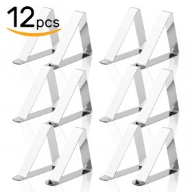 Kalevel 12pcs Tablecloth Clips Stainless Steel Table Cover Clamps Table Cloth Holder Skirting Clips Camping Table Cloth Clamps Holder Clip for 2  Thick Tables Durable, Windproof, Rust-free (M)
