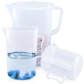 Kalevel 3pcs Measuring Beaker 1000ml 2000ml 5000ml Measuring Cup Set Polypropylene Pitcher with Handle and Spout (D Set)