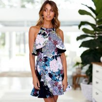 Ruffled Print Dress Sleeveless Fishtail Skirt
