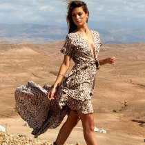 Leopard Print V-neck Strap Chiffon Dress