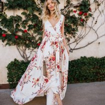 Printed chiffon holiday slit dress