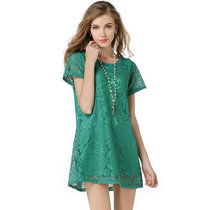 Kaleidoscope style short-sleeved openwork lace dress