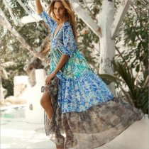 Bohemian holiday chiffon print mid-sleeve dress