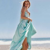 Bohemian sling tether strap chiffon hem dress