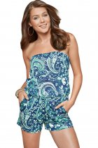 Blue Strapless Floral Print Romper Overall