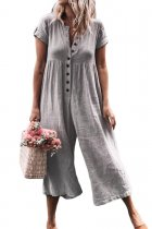 VZFF Gray Solid Short Sleeve Casual Jumpsuit